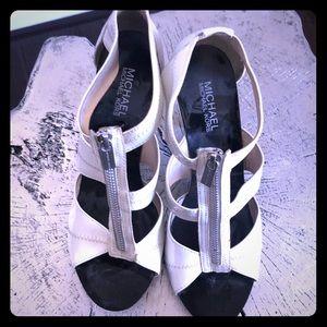 Michael Kors patent leather white zip sandals